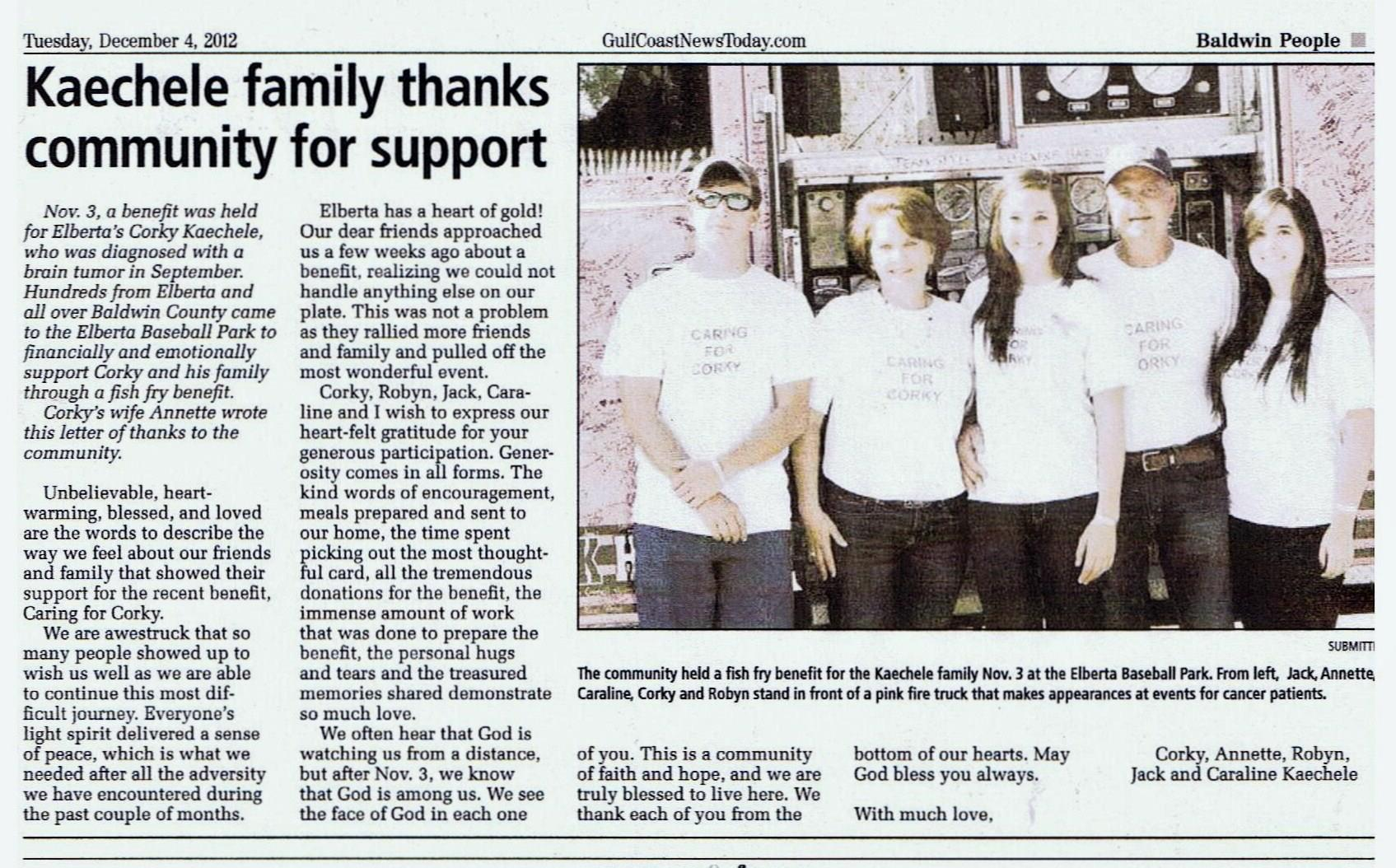 Robyn kaechele fiber artist our newspaper thank you letter to our town for the benefit held for my dad aljukfo Images
